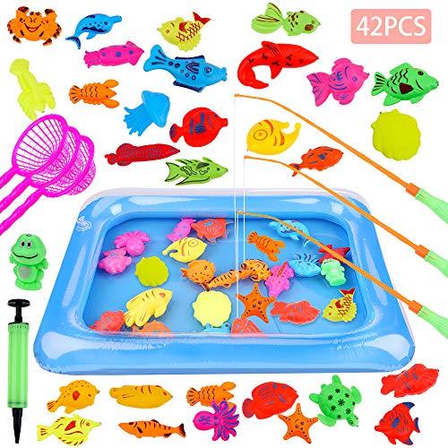 GOLDGE 42 Stück Angeln Spielzeug Badespielzeug Badewannenspielzeug Wasserspiel Perfekt Lernspiel...