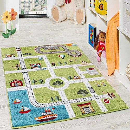 Paco Home Kinderteppich Spielteppich Hafen Straßenteppich Stadt Straße Grau Grün, Grösse:120x170 cm