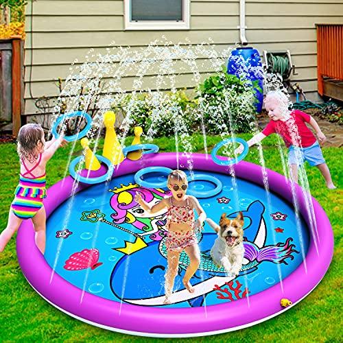 INNOCHEER Splash Pad, Sprinkler Play Matte, 172cm Wasser-Spielmatte Splash Play Matte - Aufblasbares...