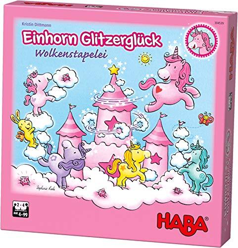 HABA 304539 - Einhorn Glitzerglück - Wolkenstapelei, kooperatives Stapelspiel mit Einhörnern und Wolken...