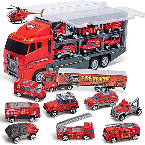 Coolplay Feuerwehrauto Groß Autotransporter Spielzeug Einsatzfahrzeug Kinder Autos Spielzeug Set für ab...