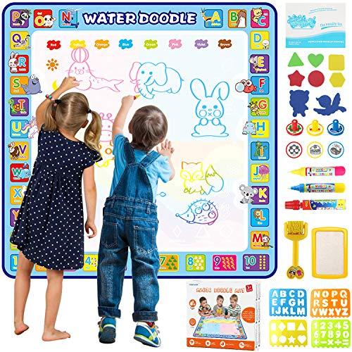 Tobeape Wasser Doodle Matte 100 x 100cm, Zeichnung Matte mit 3 Magic Stifte & Stempelset, Aqua Magic...