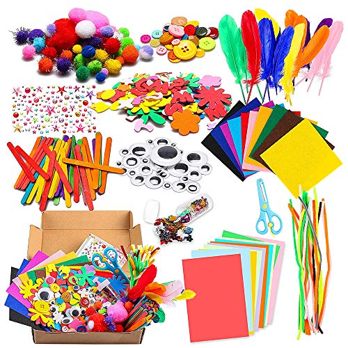 Bastelset Kinder 1000Pcs Kids DIY Art Craft Box Crafting Supplies Kit DIY Projects Scrapbooking Bastelset...