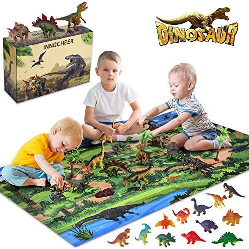 INNOCHEER Dinosaurier Spielzeug Set, Figur Dinosaurier mit Aktivität Spielmatten und Bäume,...