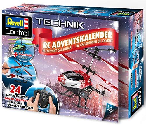 Revell 01028 Adventskalender RC Helikopter mit 2.4 GHz, LED-Beleuchtung, Gyro, inkl. Batterien in 24...