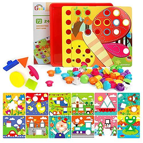 Gxi Mosaik Steckspiel für Kinder, Pädagogische Lernspielzeug Steckmosaik mit 72 großen Steckperlen und...